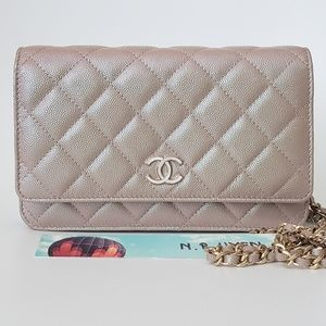 908ab2ac47bc NWT Chanel 19S Iridescent Beige Wallet on Chain
